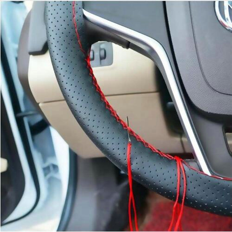 1pcs Black DIY Car Steering Wheel Cover With Needles and Thread Genuine Artificial leather for car decoration accessories covers