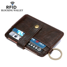 Genuine Leather RFID Wallet Blocking Thin Men's Wallet Portefeuille Homme Card Holder Hasp Famous Brand Credit Card Wallet
