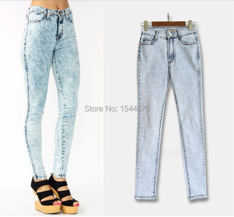Aliexpress.com : Buy high waist acid wash skinny jeans for women ...