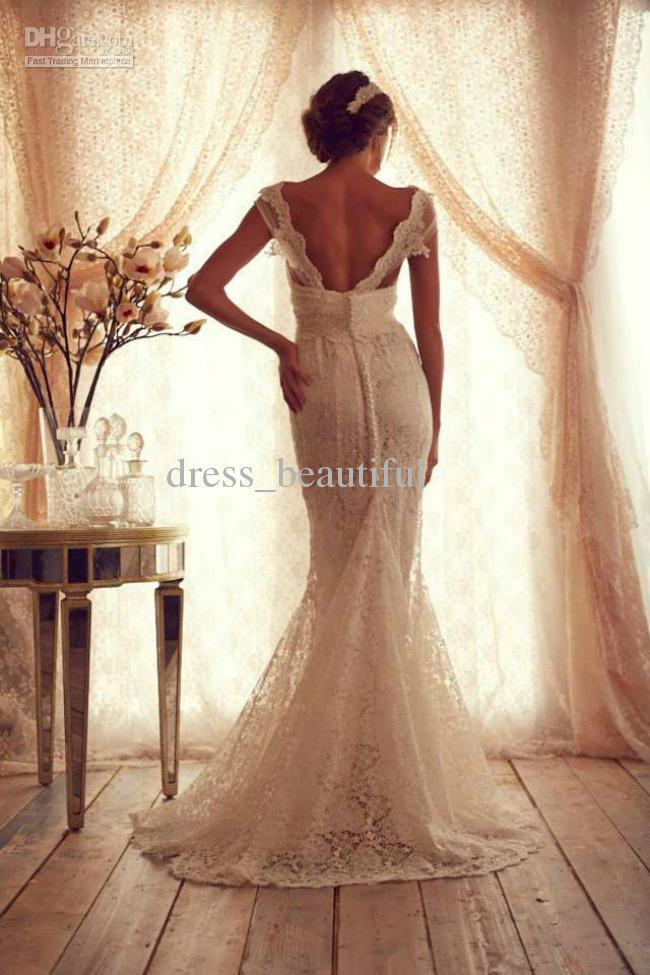 Mermaid Trumpet Portrait Short Sleeve V-Neckline Floor Length Sweep Train Sheer Straps Applique Zipper Lace Ivory Wedding Dress
