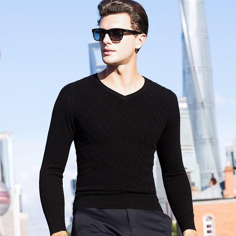 96.3% cachemire épais Pull hommes marque vêtements hommes chandails décontracté chemise laine Pull hommes Pull col en v