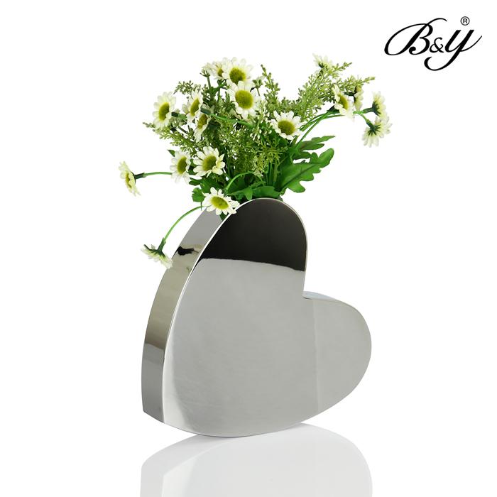 florero de acero inoxidable en forma de corazn jarrones decorativo jardinera boda de plata