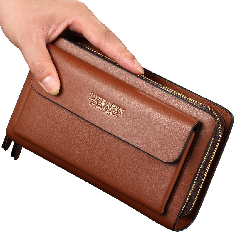 LEINASEN Leather Man Long Big Wallet Male Purse Man's Leather Card Holder Clutch Bags Zipper Multifunction Wallet for Men 40