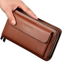 LEINASEN Leather Man Long Big Wallet Male Purse Man's Leather Card Holder Clutch Bags Zipper Multifunction Wallet for Men 40