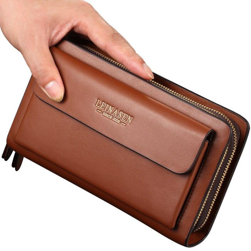 LEINASEN Leder Mann Lange Große Brieftasche Männlichen Geldbörse Mann Leder Kartenhalter Kupplung Taschen Reißverschluss Multifunktions Brieftasche für Männer 40