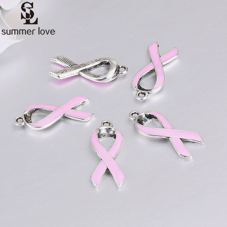 8 Awareness Ribbon Charms Word Charms HOPE Shiny Silver