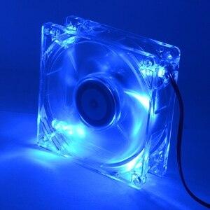 Image 2 - Ventilateur de refroidissement pour boîtier dordinateur et pc, 8cm avec ventilateur 8025 et châssis lumières LED bleues, 80x80x25