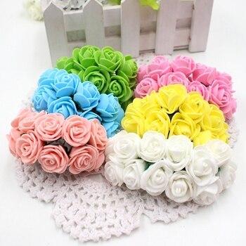12pcs/lot Foam Cute PE Rose Artificial Flower For Wedding Home Party Decoration Mariage DIY Scrapbook Rosa Garland Craft Flower rose