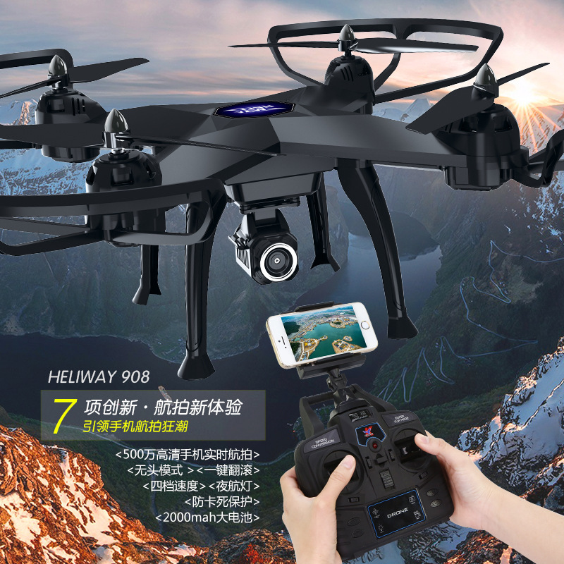New 53CM large scale RC Quadcopter 908 rc drone 2.4G 4CH Headess Mode set height 5.0 MP camera real timeTransmission VS Q333
