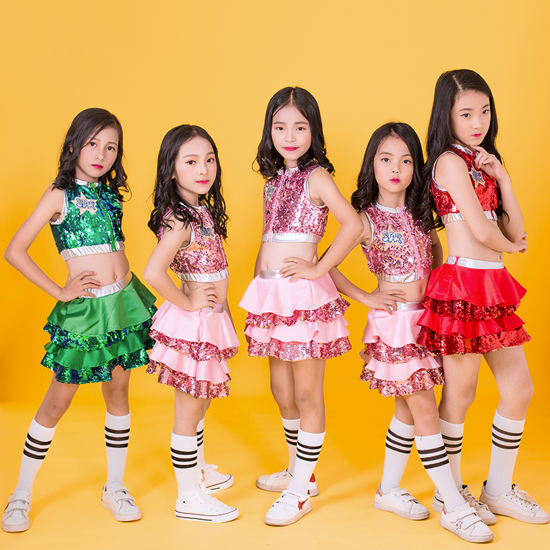 Hip Hop Dance Costumes Kids Sequined Sleeveless Top Skirts Stage Outfit Girls Cheerleading Child Street Dancing Clothes DNV10137-in Ballroom from Novelty & Special Use    2