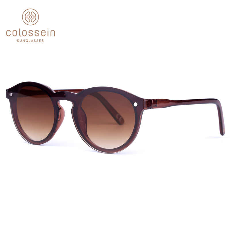 26fc76070 COLOSSEIN Pinglas Sunglasses Cat Eye Women Brown Frame Eyewear Coating  Vintage New Fashion Style oculos de