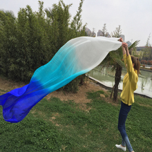 New Arrival 100% chinese real Silk Belly Dancing Veils sexy horizontal dancing silk Veil 2.5×1.14m White/Turquoise/Blue