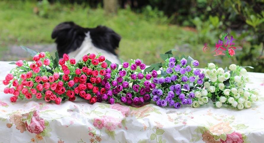 6 Milan fork bract simulation flower tea bud Rose Garden Artificial Flower small living room desktop flowers flowers