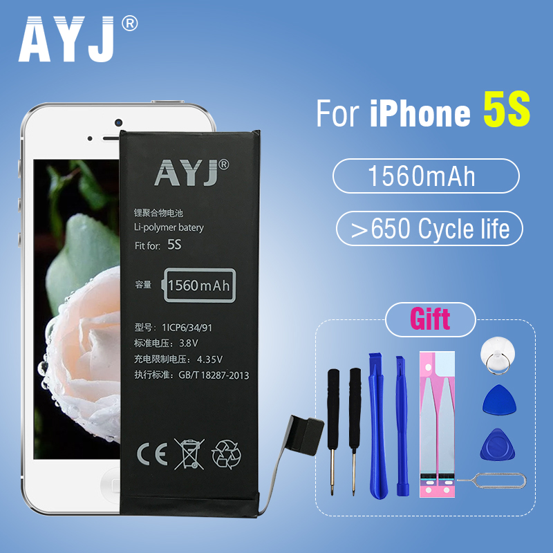 AYJ 5A Standard Quality Battery for iPhone 5S Replacement Capacity Full 1560 mAh 100% New Cell 0 Zero Cycle stability & safety