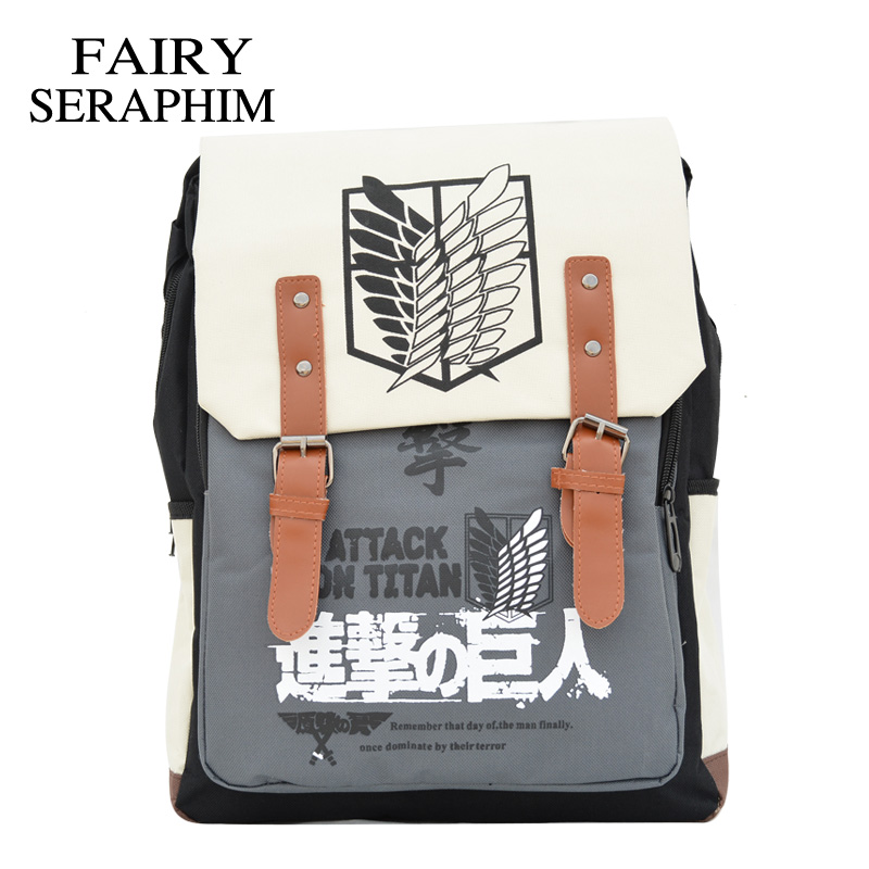 FAIRY SERAPHIM Printing Cartoon Attack On Titan School Bag For Teenagers Cosplay Bags Men's Investigation Corps Backpack