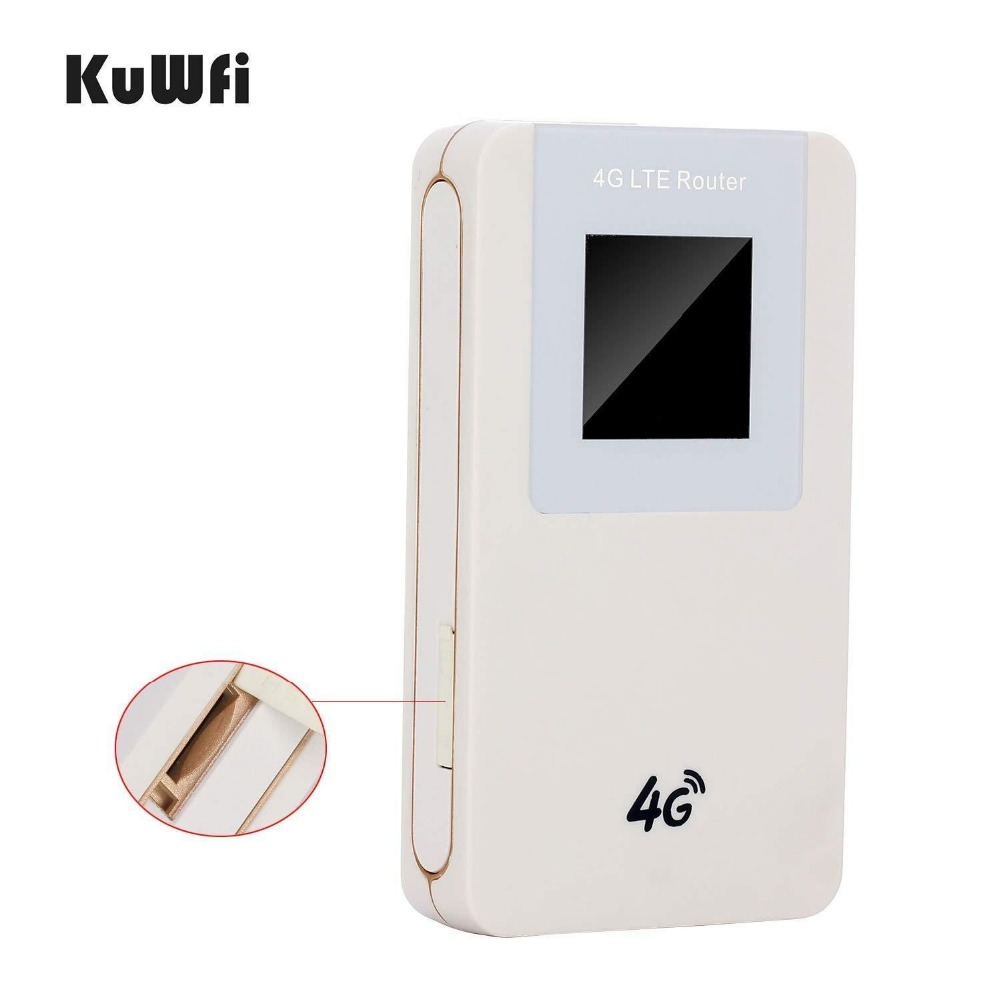 Image 3 - KuWfi Unlocked 4G LTE Wireless Router MiFi  4600mAh Power Bank WIFI Router Portable Wireless Modem With SIM Card Slot-in 3G/4G Routers from Computer & Office