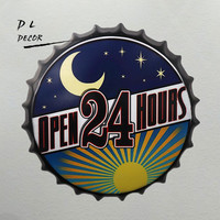 DL Promotional gift !!Retro Open 24hours Bottle cap poster office hanging Signs House Cafe home art decor