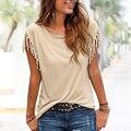 Softu novos das mulheres da forma borla casual top blusa sólida o pescoço curto manga solta camisas estilo europeu lady clothing