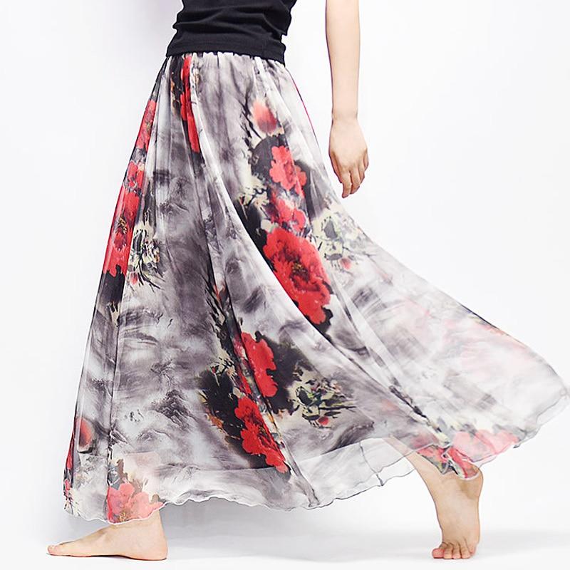 7bf7eaaa28 2019 Summer Women Long Skirt Elegant Harajuku Saia Beach Boho Chiffon Skirts  Casual High Waist Tutu Cotton Linen Maxi Skirts-in Skirts from Women's  Clothing ...