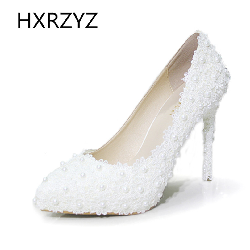 HXRZYZ 5 / 11cm Shoes Women Handmade Pearl White Lace High Quality Wedding Party Shoes Bridal Bridesmaid High Heels Lady Pumps