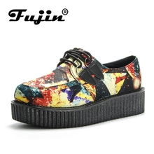 Fujin Brand Spring Women Flat Platform Shoes moccasins Comfortable Casual Fashion Lace Up Ladies Espadrilles