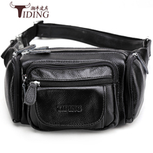 waist bags genuine leather for man 2018 new men brand fashion casual black brown travel small bags male waist chest bag