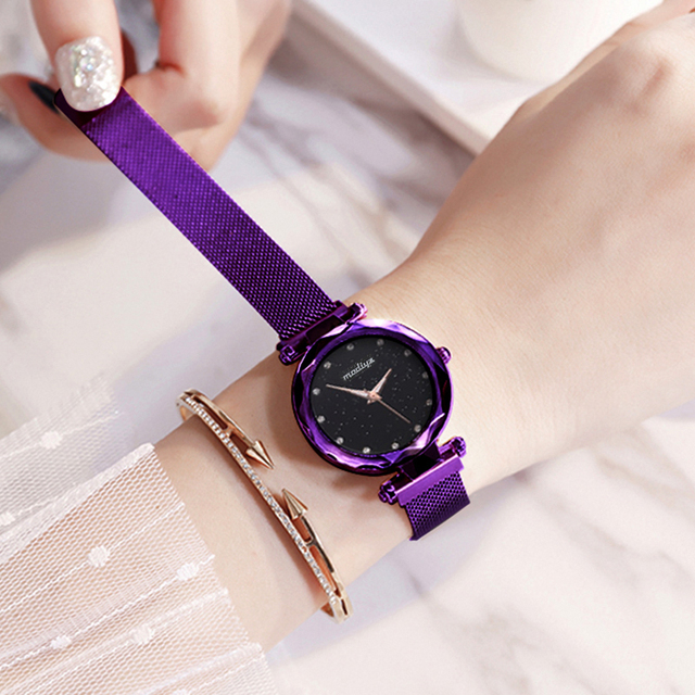 Luxury Diamond Rose Gold Women Watches Fashion Ladies Starry Sky Magnetic Watch Casual Mesh Steel Rhinestone Female Wristwatch 1