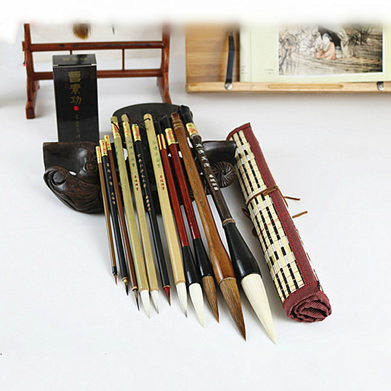 Set of Chinese Traditional Landscape Paiting Chinese Calligraphy Practice Multiple Hair Brush Pen for Beginner ProfessionalSet of Chinese Traditional Landscape Paiting Chinese Calligraphy Practice Multiple Hair Brush Pen for Beginner Professional