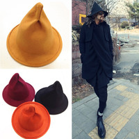 pointed hat homburg hat mini witch hat woman fashion autumn winter hat funny clothing accessories