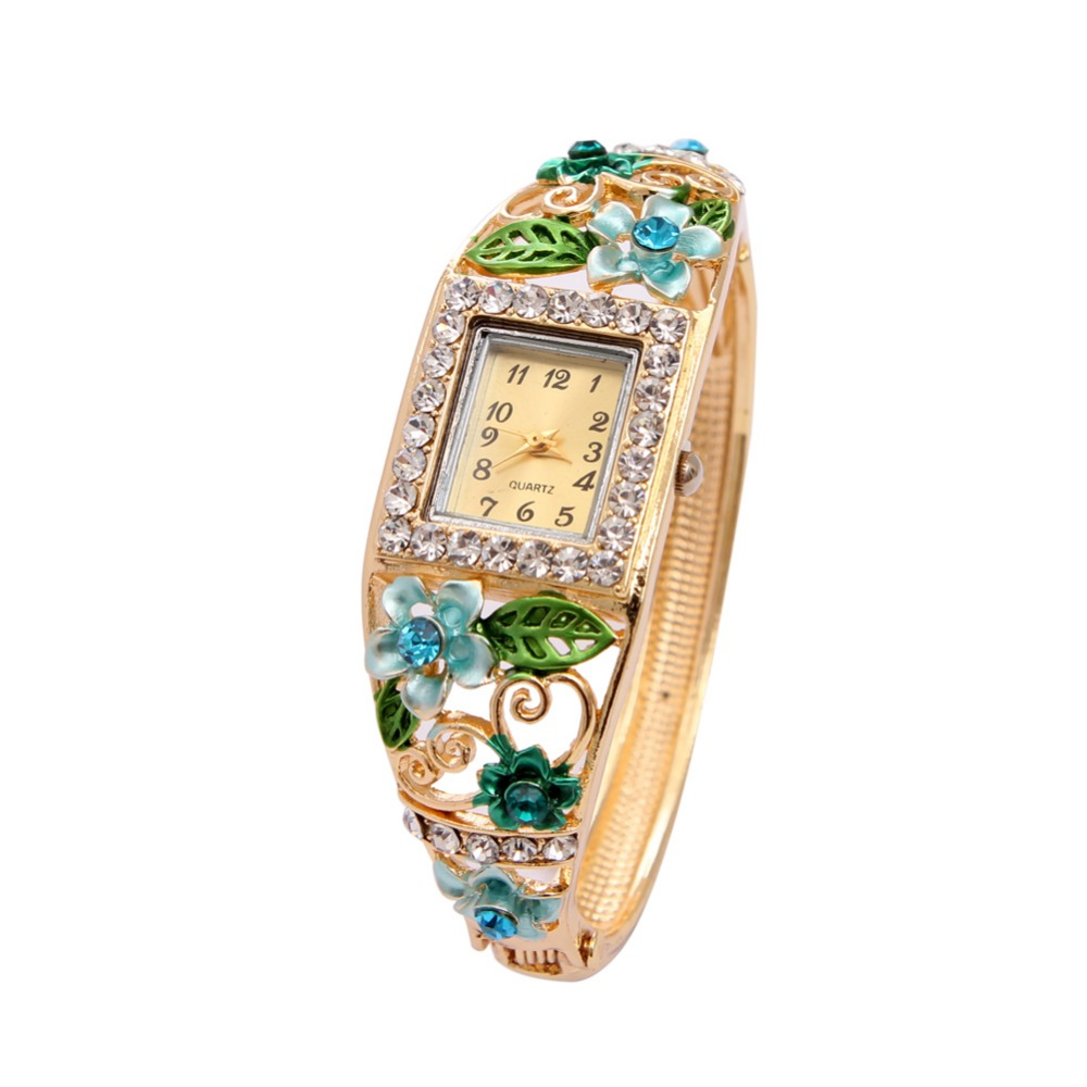 Top Luxury Famous Brand Women's Watch Green Flower Enamel Rhinestone Fashion Lady's Watches Relogio Feminino classic simple star women watch men top famous luxury brand quartz watch leather student watches for loves relogio feminino