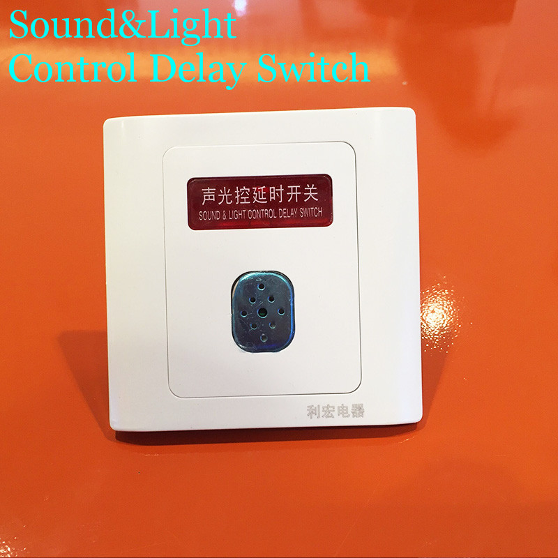 Newest  86 Type 220V Sound &Light Control Delay Switch  Time Delay 45 seconds Wall Switch 5m Sound light control sensor CM084 home corridor 86 type led energy saving lamps power supply wall inductive switch panel sound and light control delay switch