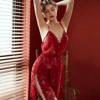 Sexy Lingerie Nightgown Underwear Lace Embroidery Seduction Women Nightwear Sling Back Cross Night Dress 4