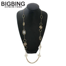 BIGBING fashion jewelry golden chain blue stone crystal flower Necklace fashion women chains necklace jewelry high quality J239(China)