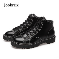 Jookrrix 2017 New Autumn Fashion Boots Women Shoes For Lady Genuine Leather Boots Thick Bottom Locomotive