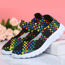 New Fashion Ladies Flat Shoes Womens Sneakers Running  Mesh Woven Plus Size 35-42