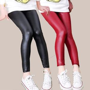 Faux PU Leather Teens Children Kids Girls Leggings Thin Skinny Pencil Pants Spring Autumn Baby Girl Clothes