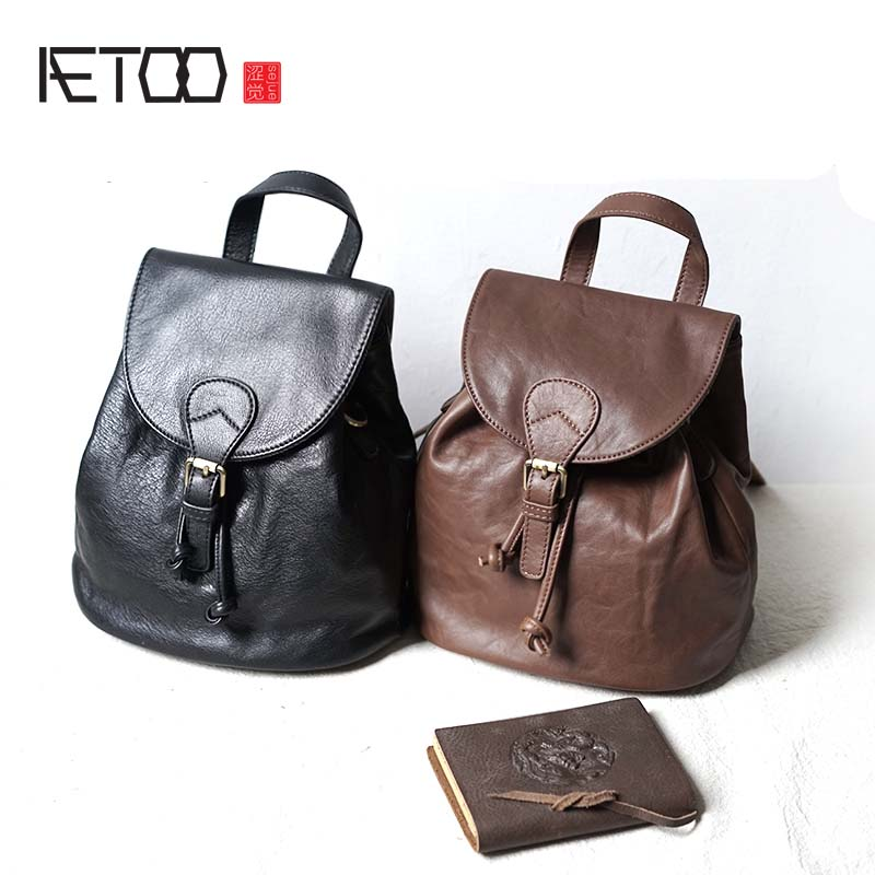 AETOO Leather shoulder bag Korean simple college wind bag original first layer of leather travel small backpacks women aetoo first layer of leather shoulder bag female bag korean version of the school wind simple wild casual elephant pattern durab