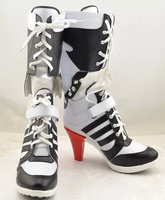 Batman Suicide Squad Harley Quinn Movie Halloween Cosplay Costumes Shoes Boots High Heels Custom Made For Adult Women US Size