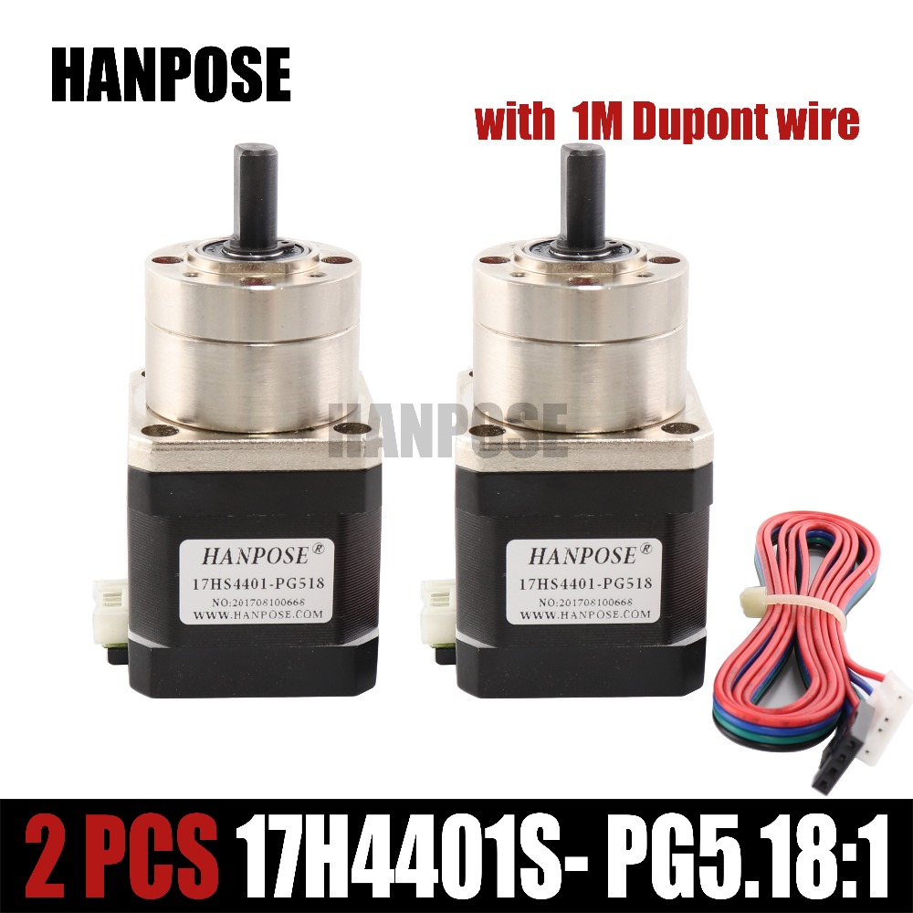 Free shipping 2pcs Extruder Gear Stepper Motor Ratio 5:1 Planetary Gearbox Nema 17 17hs4401 Step Motor OSM Geared For 3D Printer nema23 geared stepping motor ratio 50 1 planetary gear stepper motor l76mm 3a 1 8nm 4leads for cnc router