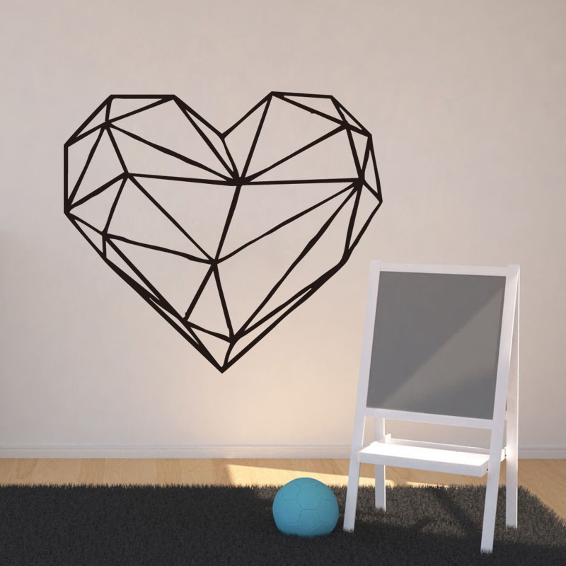 Geometric Heart Wall Stickers Home Decoration Accessories New Year Gifts Vinyl Wall Decals For Walls in Wall Stickers from Home Garden
