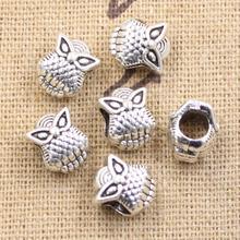 Beads Charms Bracelet Big-Hole Silver-Color Antique 10x8x8mm 15pcs Fits Owl