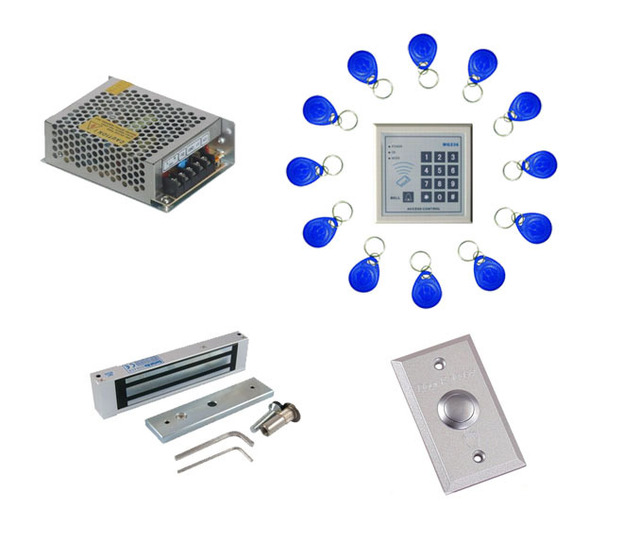 Free shipping ,access control kit ,one EM keypad access control +power+180kg magnetic lock +button +free 10 em card,sn:em-006