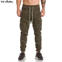 YH.JiuMu 2018 Men Pants Spring New Solid Color Muscle Men Pants Male Simple Drawstring Loose Casual Trousers YH0013