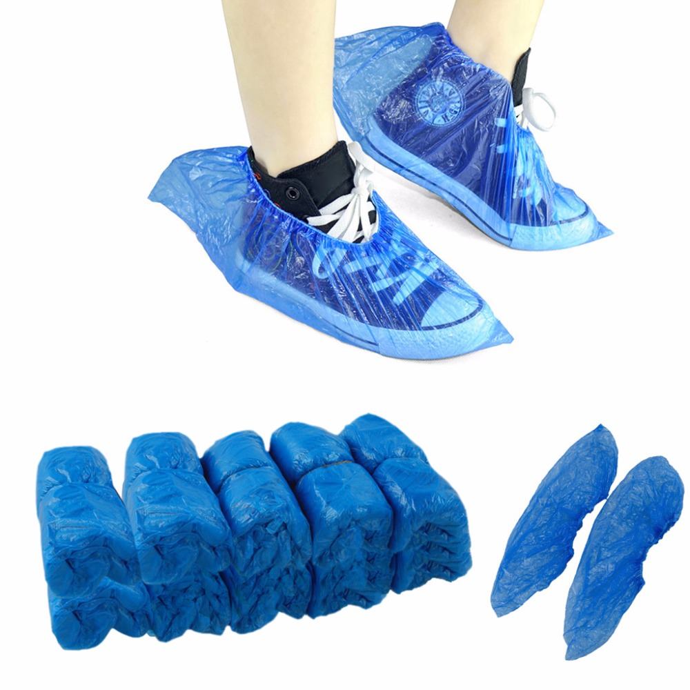 THINKTHENDO 1Pack/100 Pcs Medical Waterproof Boot Covers Plastic Disposable Shoe Covers Overshoes