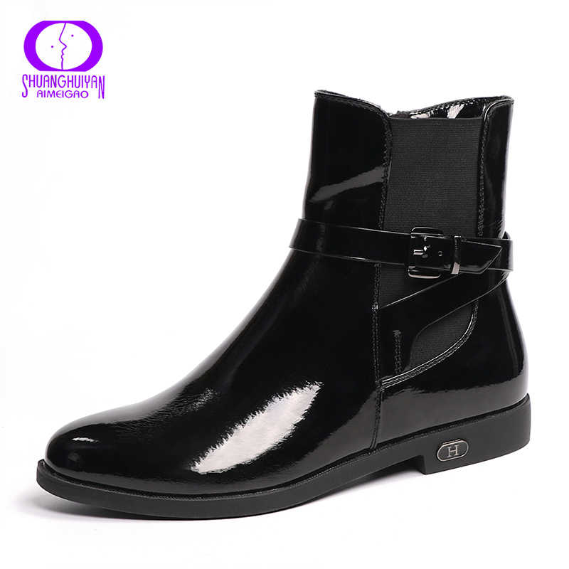 AIMEIGAO bahar sonbahar büyük boy kadın yarım çizmeler kadın zarif moda düz çizme PU deri çizmeler sıcak peluş kadın ayakkabı