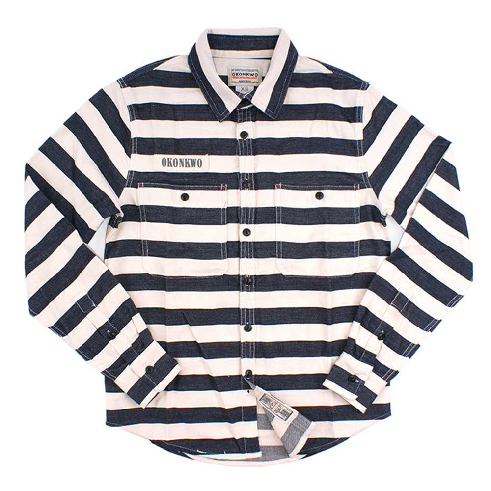 Canvas Vintage Prison Stripe Shirt Men Long Sleeve Slim Fit Cotton Navy Casual Camisa Masculina Chemise Homme Mens Clothing 2018