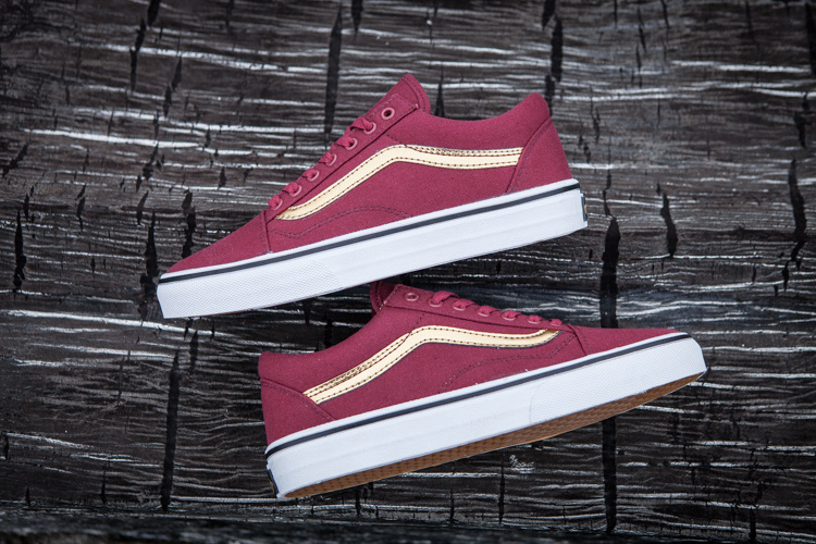 c6f75f316f90e1 Vans classic old skool Red Wine Color women low-top canvas shoes  skateboarding casual shoes free shipping