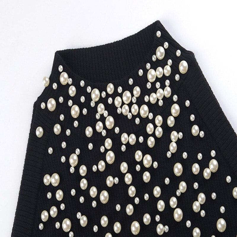 Tricot Black Épaule Perles Femmes Off Printemps D'automne Piste Hauts En Jumper Conception Pulls Chandail Perle Pull Femme Sruilee TvFq6TH
