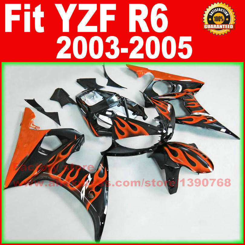 ABS Motorcycle body fairings kit for YAMAHA R6 2003 2004 2005 YZF R6 03 04 05 YZFR 600 orange flame fairing bodywork part 6 colors cnc adjustable motorcycle brake clutch levers for yamaha yzf r6 yzfr6 1999 2004 2005 2016 2017 logo yzf r6 lever