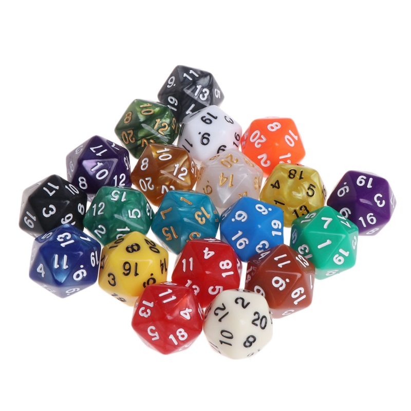 20 Pcs/set Multicolor Acrylic Cube Dice 20 Sides Beads Dice Portable Table Games Toy